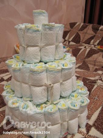 Простой торт из памперсов