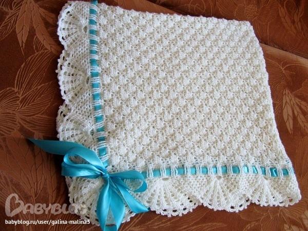 Вязание пледа для новорожденных 17