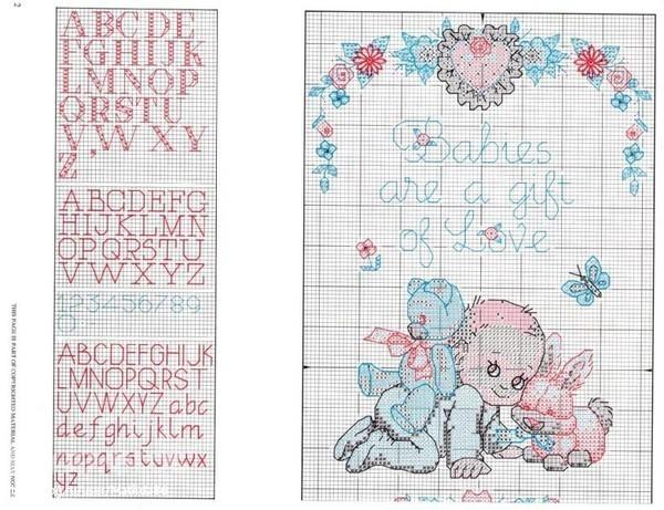 Вышивка крестом рождение ребенка схемы 55
