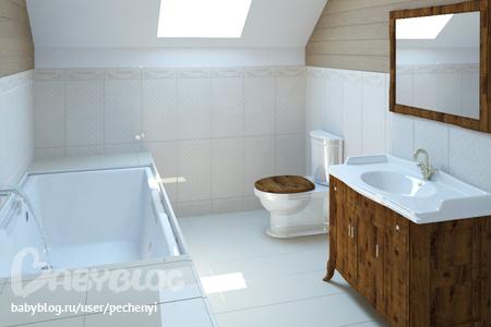 дизайн ванной комнаты в деревянном