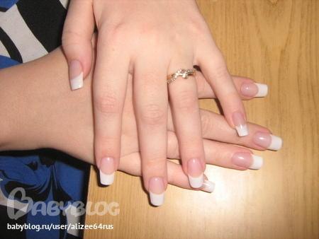 Фото нарощенных ногтей френч единичка