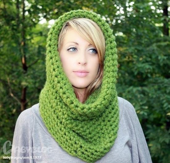 Описание: схема вязания шарфа-снуд спицами.