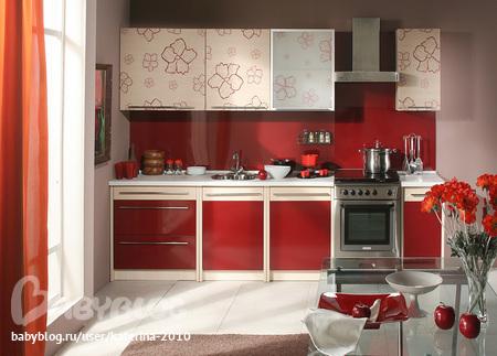 кухня верх красный низ черный фото