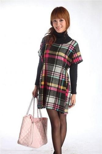 ...Sleeve Empire Waist Plaid Dress - Интернет магазин одежды из Китая М-О.