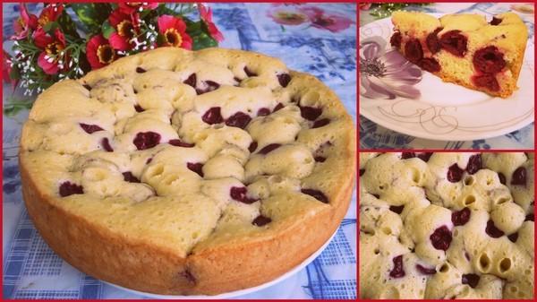 Пирог вишней рецепт с фото в мультиварке