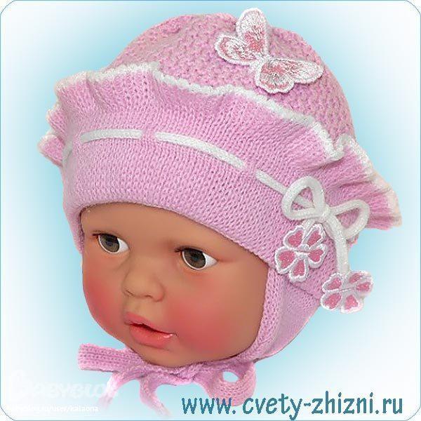 Вязание шапки для девочки 6 месяцев