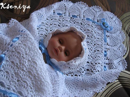 Вязаный плед крючком для новорожденного на выписку