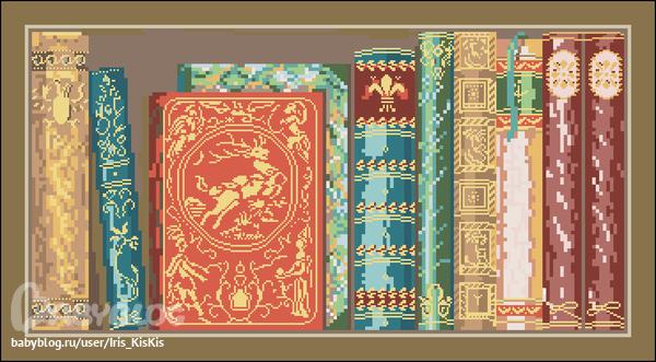 Схема вышивки книжная полка