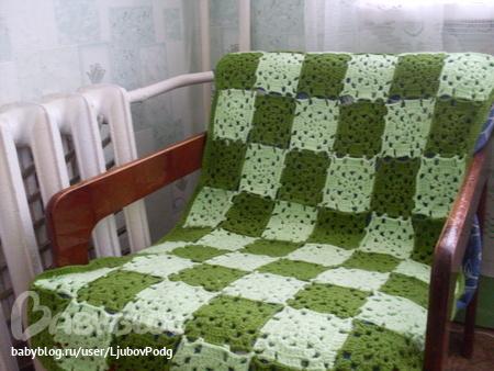 Накидка для дивана связанная крючком
