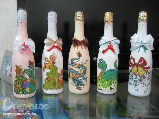 Бутылочки на новый год.