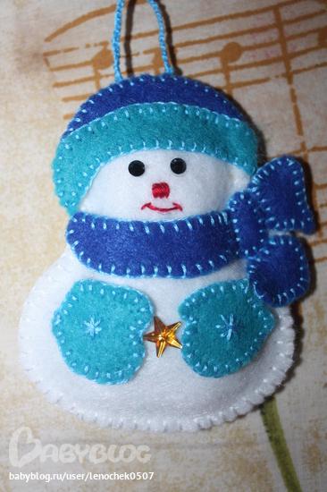 Снеговик из фетра своими руками