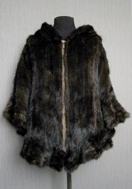 Новый длинный жилет/накидка из вязаной норки с капюшоном - Чертановская.