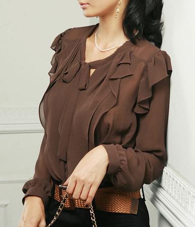 Блузка шифоновая кофейного цвета.  Можно носить навыпуск (Длина до самой...