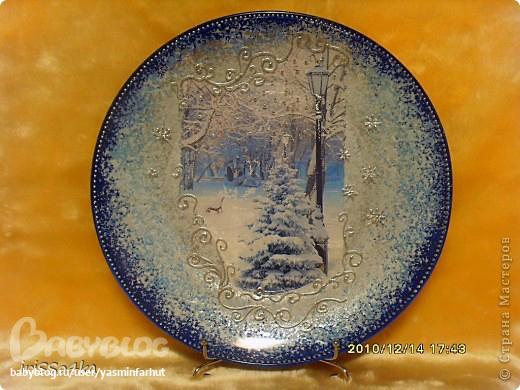 Обратный декупаж тарелок новый год