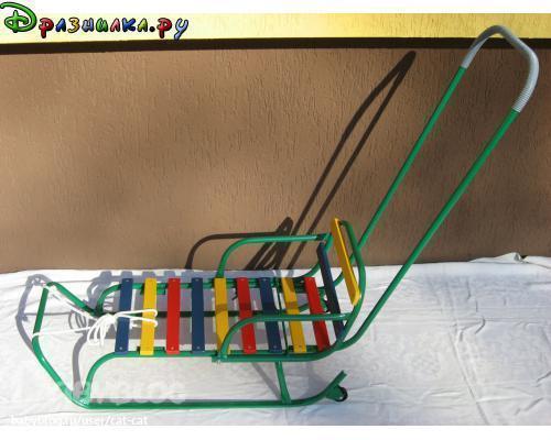 Санки с колесиками трубчатые-трансформер с плоским полозом.