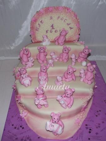 Дизайн тортов на годик девочке