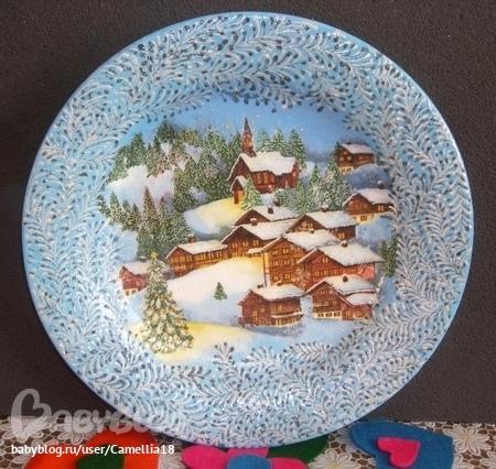 Декупаж тарелки от мастеров