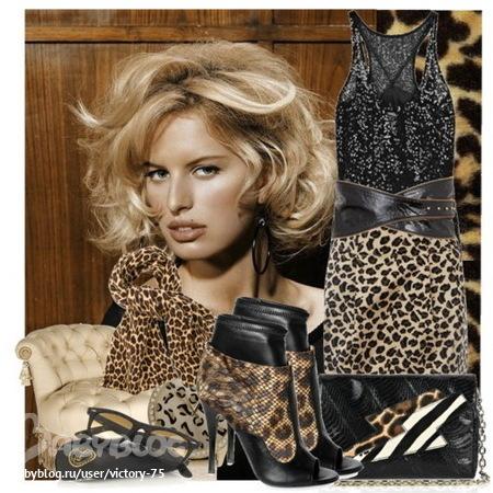 С чем носить вещи с леопардовыми принтами: ... вырез на майке или платье...
