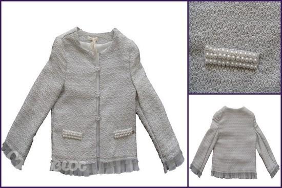 Miss Grant Couture серебристо-белый пиджак в стиле Шанель.