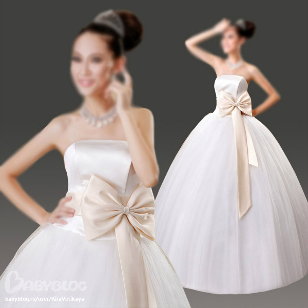 Не пышные свадебные платья с бантом