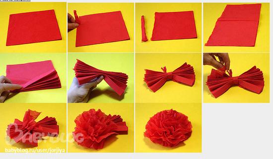 Как сделать цветы из салфеток своими