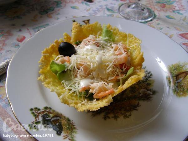 Салат в сырной корзинка фото