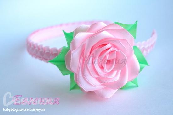 Роза канзаши ободок мастер класс