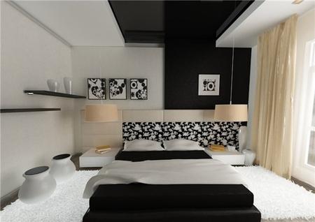 натяжные потолки темного цвета и спальне фото