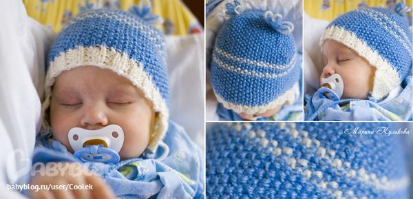 Шапочки для новорожденных спицами и крючком