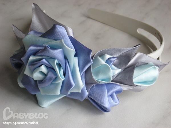 Как сделать ободок из роз канзаши