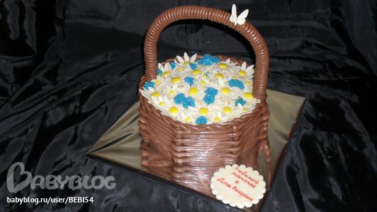 торт-корзина с ручкой фото