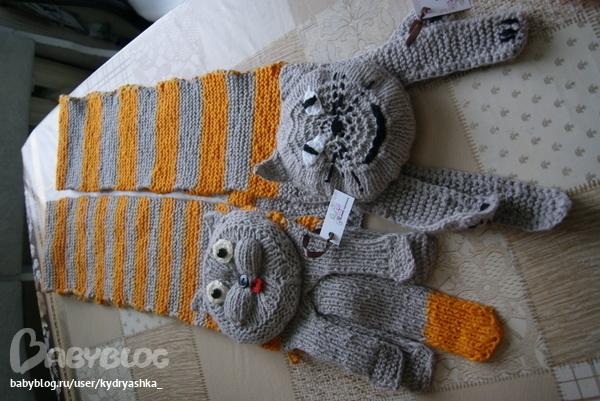 как связать спицами детский шарф кот
