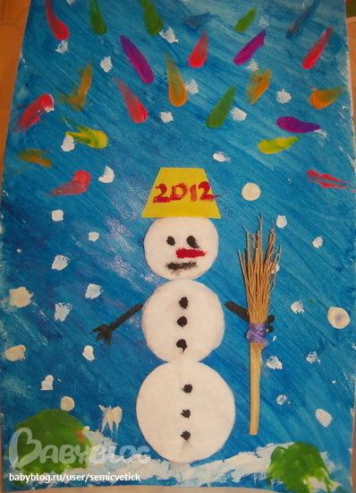 Как сделать снеговика из ваты на картоне