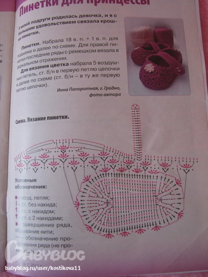 Красивые пинетки для девочек крючком схемы описание