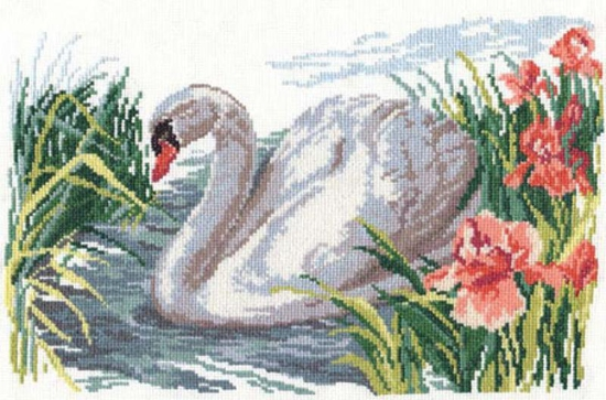 схемы вышивки крестом лебеди