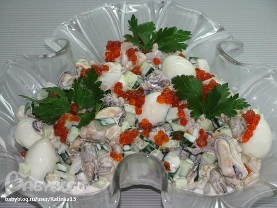 Салат с морским коктелем рецепт