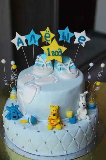 Торт двухярусный на годик (для мальчика) .