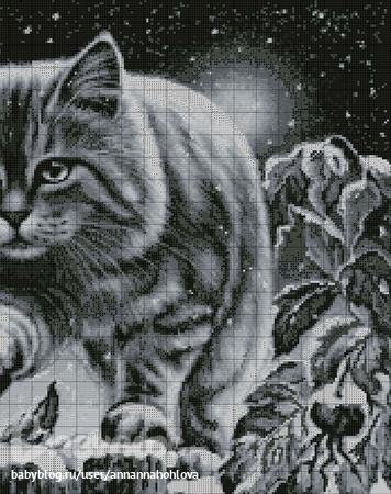 """вышивки Коты и полнолуние"""""""