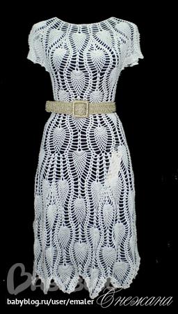 Схема вязания узор ананас платье крючком