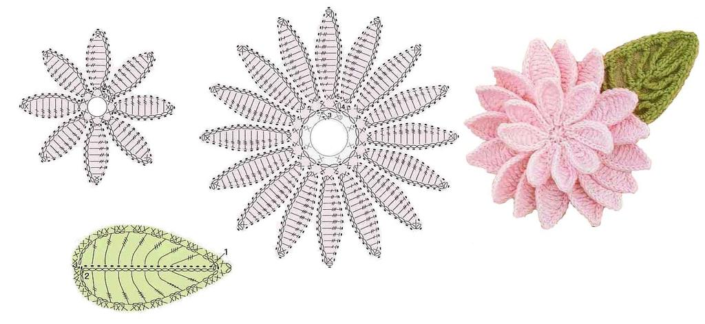 Красивые вязаные цветы и листья схемы