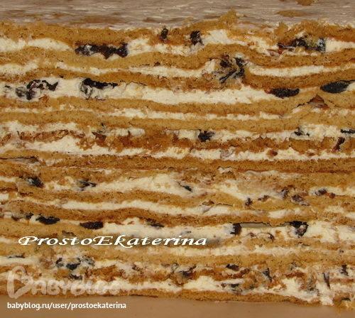 Торт медовый с орехами и черносливом рецепт 153