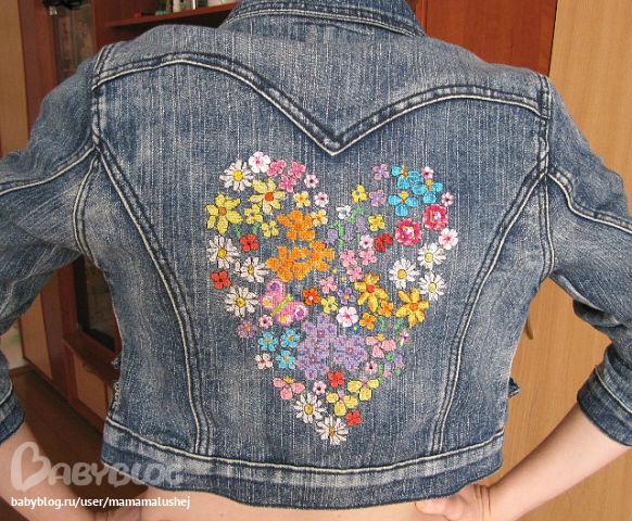Вышивка на джинсовой куртке своими руками поэтапно 36