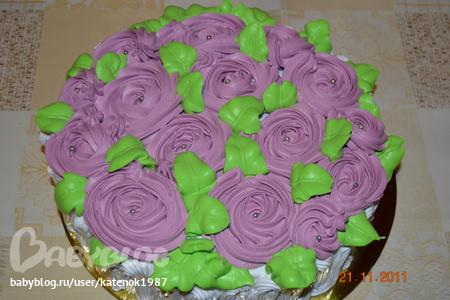 Как из сливочного крема сделать розы на торте из крема