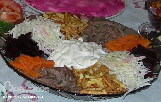 Салат жареная картошка свекла мясо