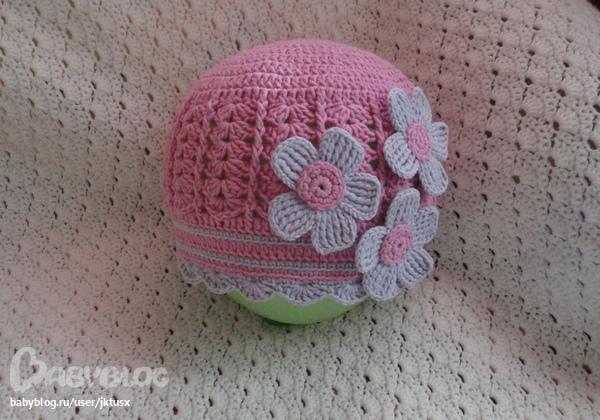 Двойная шапочка крючком для девочки мастер класс