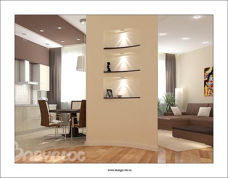 Дизайн перегородок из гипсокартона в гостиной