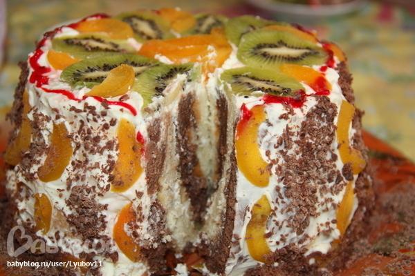 бисквитный торт с фруктами рецепт с фото