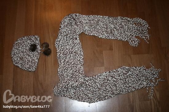 1.шапка и шарф крупной вязки, бежево-коричневый меланж, с норковыми...
