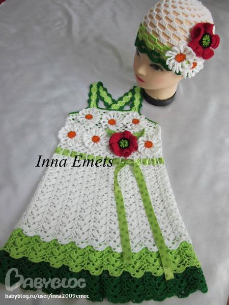 Вязание крючком детские платья и оформление цветочками 42