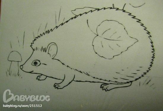 Рисунок ёжика для поделки 70